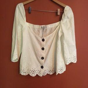 Zara embroidered eyelet crop blouse large